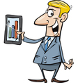 happy businessman with tablet vector image vector image