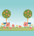 happy spring garden potted trees flowers grass vector image