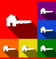 home key sign set of icons with flat vector image