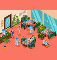 isometric colored robotic restaurant composition vector image vector image