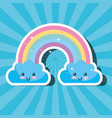 kawaii rainbow and clouds sunburst cartoon weather vector image