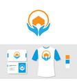 logo design with business card and t shirt mockup vector image vector image