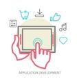 mobile app development concept line vector image vector image
