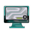 monitor display with globe conncection web online vector image