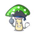 pirate green amanita mushroom character cartoon vector image vector image