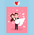 romantic holiday postcard groom and bride vector image vector image