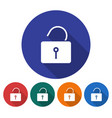 round icon of unlocked padlock flat style with vector image
