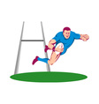 rugby player diving to score a try vector image vector image