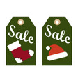 sale promo labels red sock and santa claus hat vector image vector image