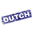 scratched dutch framed rounded rectangle stamp vector image vector image
