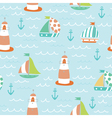 sea seamless pattern with boats vector image