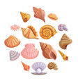 sea shell beach icons set cartoon style vector image