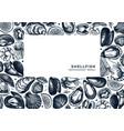 seafood a 4 menu design hand drawn fish shellfish vector image vector image