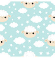 seamless pattern cloud star in sky sheep face vector image vector image