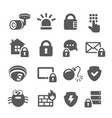 security icons web mobile it data protection set vector image vector image