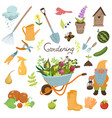 set garden tools isolated on a white vector image
