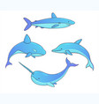 set underwater whales shark narwhal dolphin vector image vector image