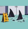 sharks swimming on wet floor warning sign stock vector image vector image