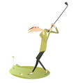 smiling golfer isolated vector image vector image