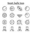 sport balls icon set in thin line style vector image