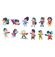 superhero kids boys and girls in comic superhero vector image