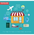 Travel and vacation flat icon set vector image vector image