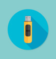 usb flash drive flat icon with long shadow eps10 vector image