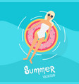 woman in swim suit lying on floating swimming vector image vector image