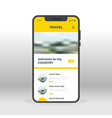 yellow travel ui ux gui screen for mobile apps vector image vector image