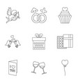 gift for valentine icons set outline style vector image