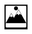 photograph with mountains and sun icon image vector image