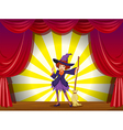 A witch at the stage with a red curtain vector image vector image