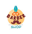 barber shop logo design template hair salon badge vector image vector image