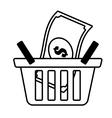 basket shop bill money outline vector image vector image