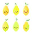 beautiful cute set with cartoon lemons vector image vector image
