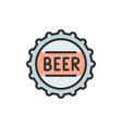 beer bottle cap flat color line icon vector image