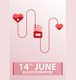 blood donation banner medical vector image vector image