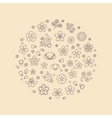 Blossom flower thin line icons in circle design vector image vector image