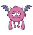 bored purple flying cartoon bat monster