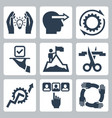 business management and service icon set vector image vector image