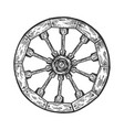 cart old wooden wheel engraving vector image vector image