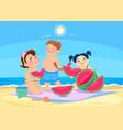 cartoon children eating watermelon on the beach vector image vector image