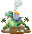 cartoon happy dinosaur in prehistoric background vector image