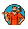 Cartoon lumberjack holding an axe vector image