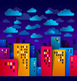 cityscape in the night with clouds in the sky vector image