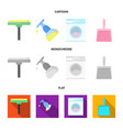 cleaning and maid cartoonflatmonochrome icons in vector image