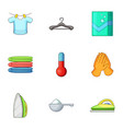 cleaning clothes icons set cartoon style vector image vector image