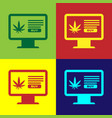 color computer monitor and medical marijuana or vector image vector image