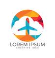creative cloud travel logo design vector image vector image