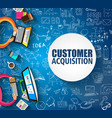 customer acquisition concept with doodle design vector image vector image